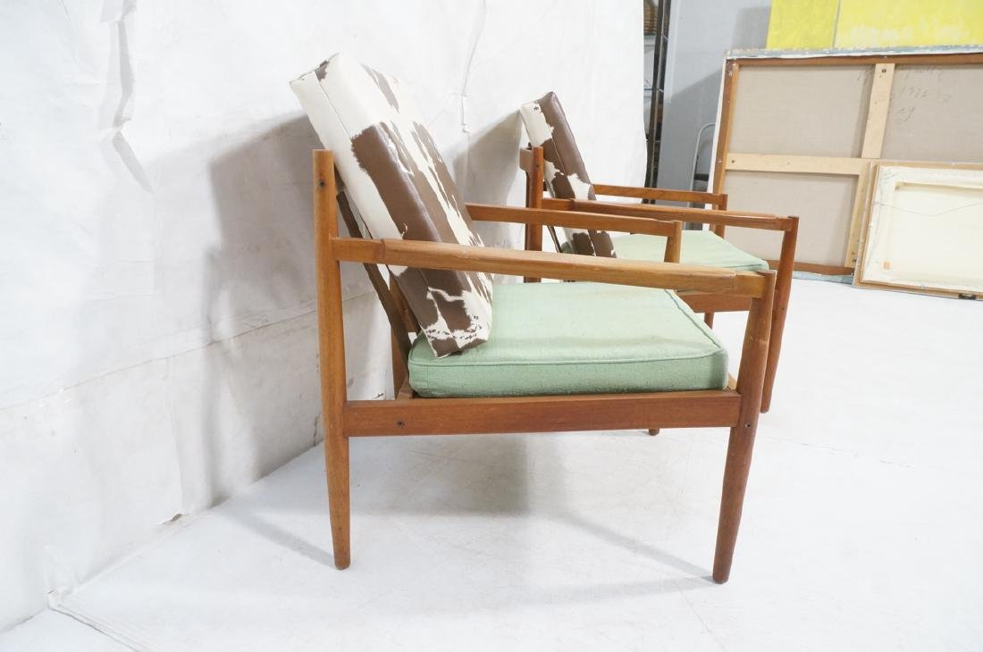 Pr DUX Style Teak Modern Lounge Chairs. Curved wi - 3