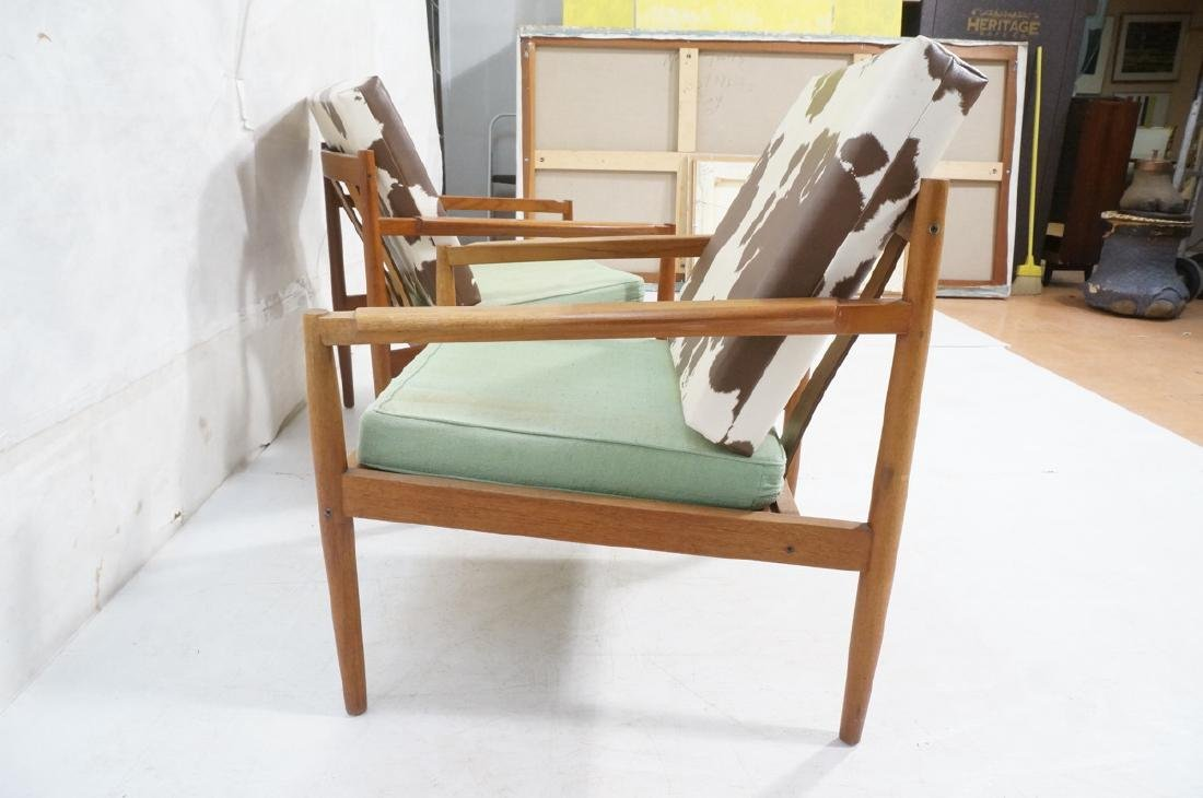 Pr DUX Style Teak Modern Lounge Chairs. Curved wi - 5