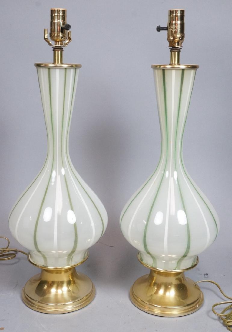 Pr Green & White Striped Murano Art Glass Lamps.