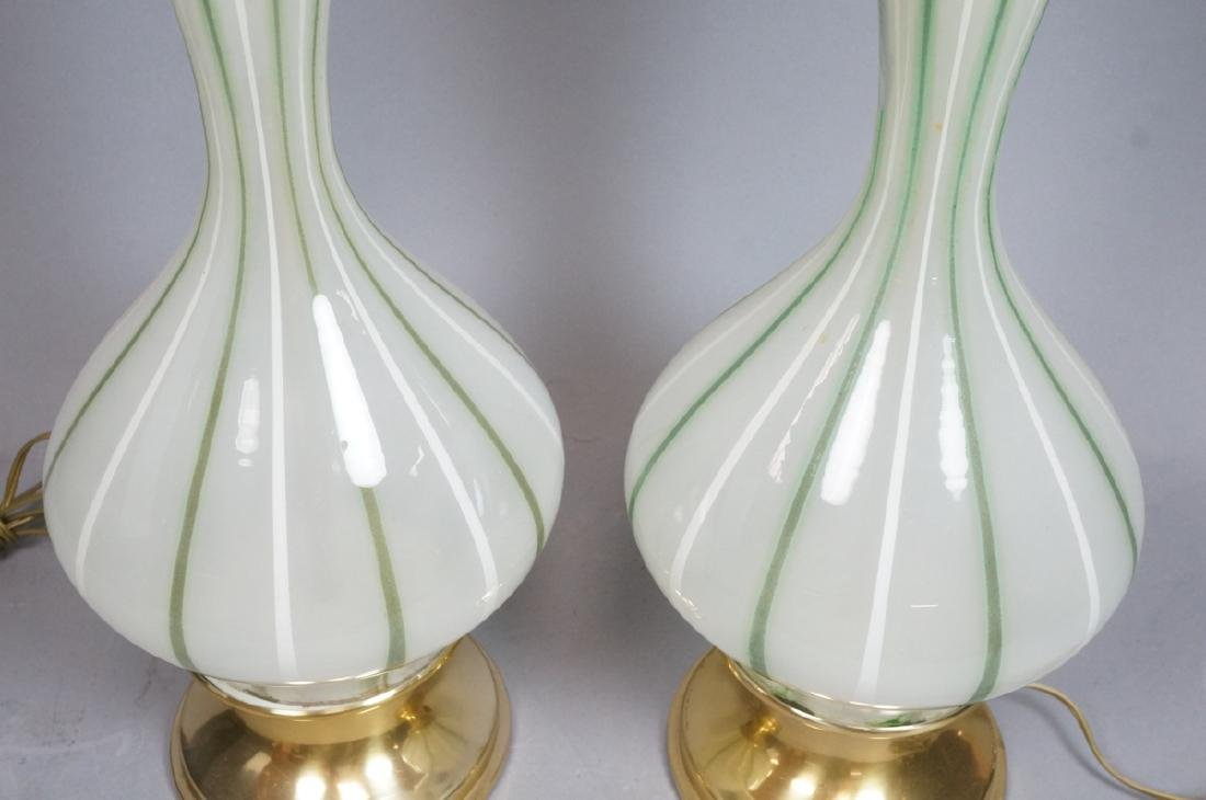 Pr Green & White Striped Murano Art Glass Lamps. - 3