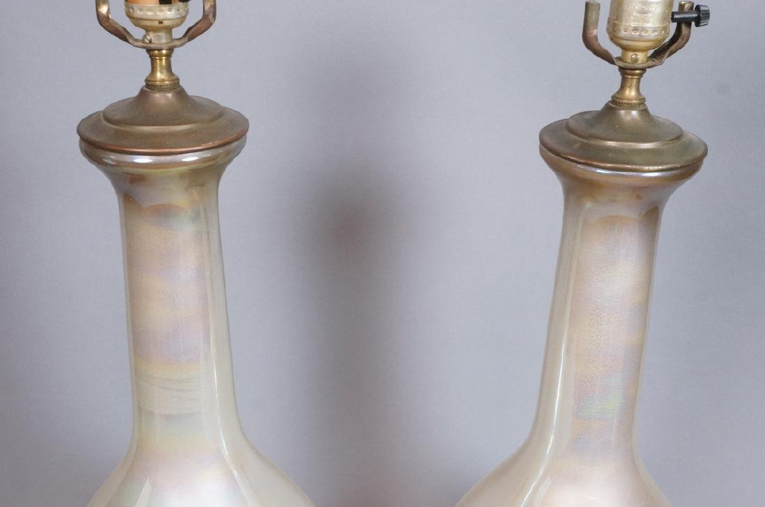 Pr Iridescent Vintage Glass Table Lamps. Pearlize - 3