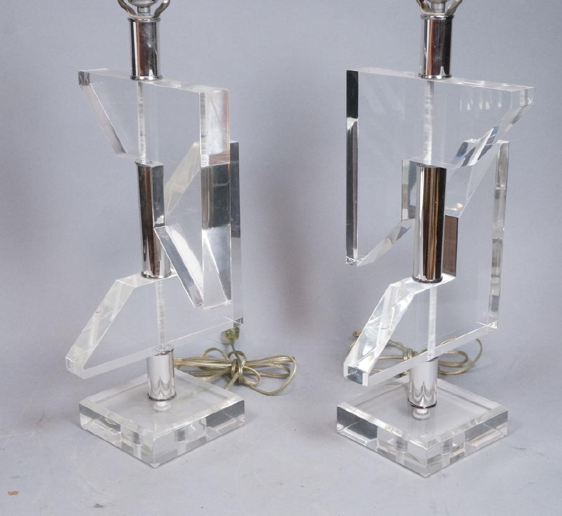 Pr Geometric Clear Lucite Table Lamps. Modern sty