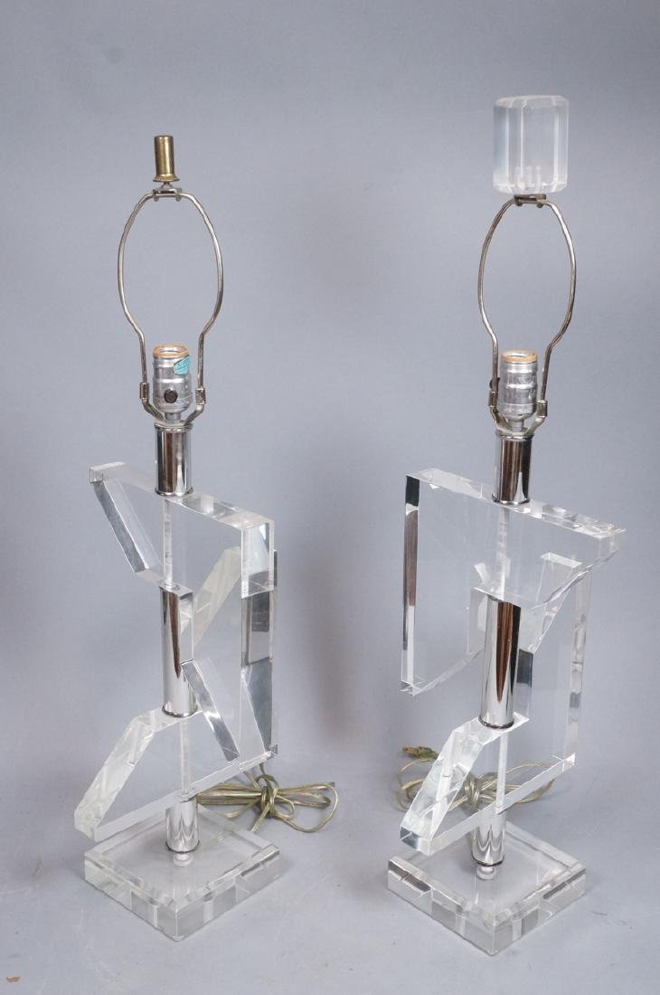 Pr Geometric Clear Lucite Table Lamps. Modern sty - 2