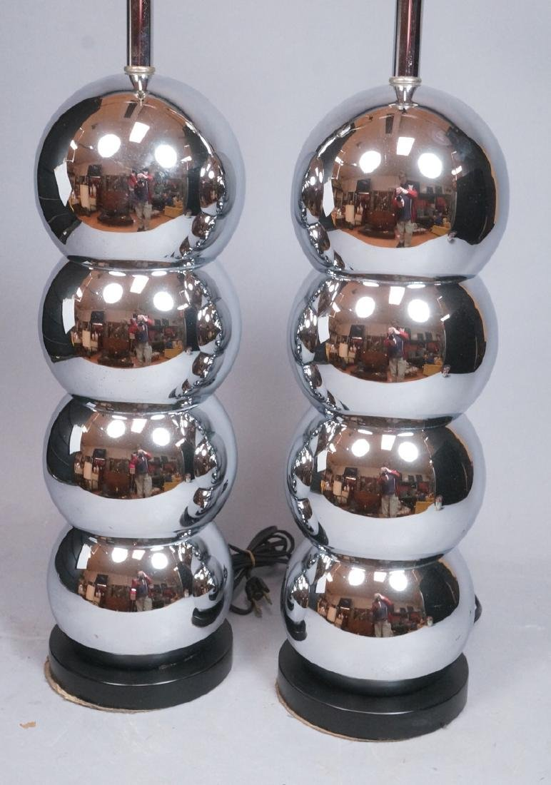 Pr KOVAC Style Stacked Chrome Ball Table Lamps. 7