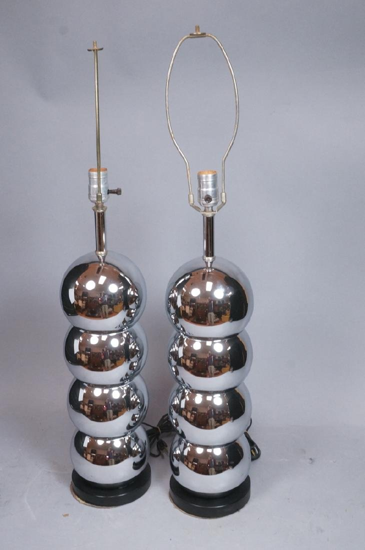 Pr KOVAC Style Stacked Chrome Ball Table Lamps. 7 - 2