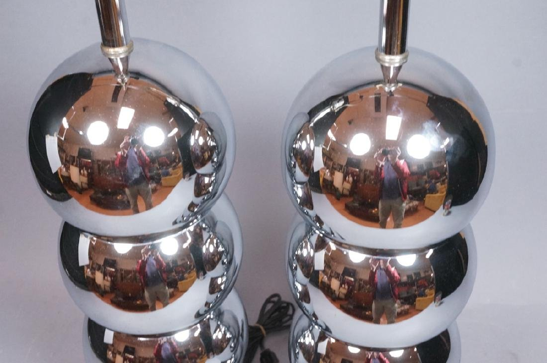 Pr KOVAC Style Stacked Chrome Ball Table Lamps. 7 - 3