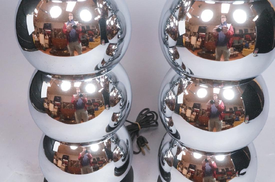 Pr KOVAC Style Stacked Chrome Ball Table Lamps. 7 - 4