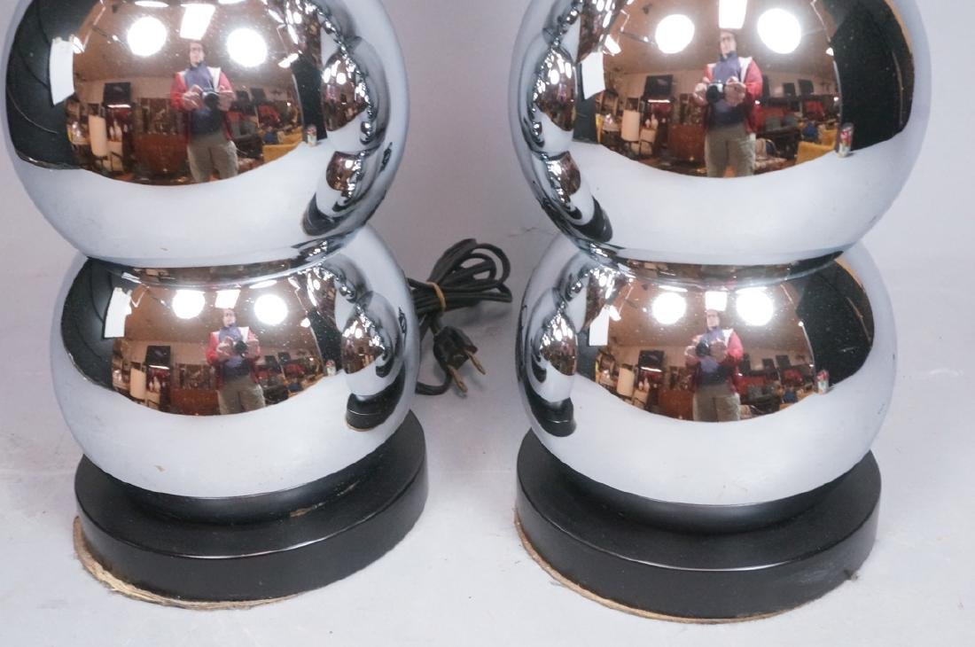 Pr KOVAC Style Stacked Chrome Ball Table Lamps. 7 - 5