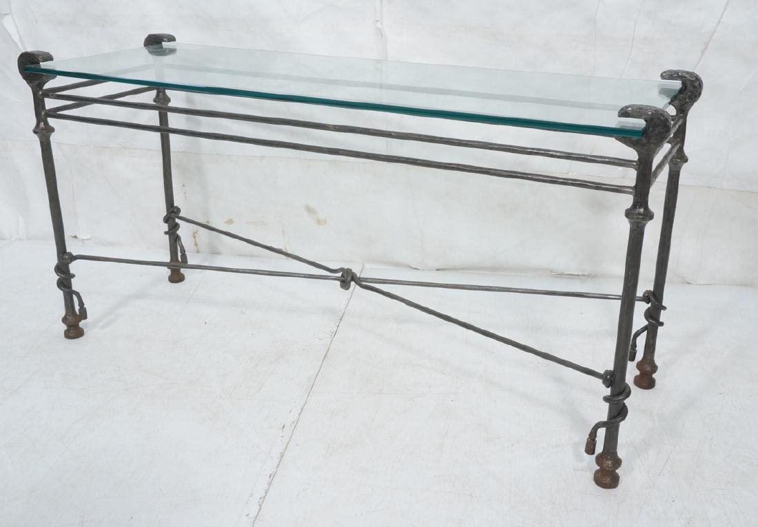 Decorator Wrought Iron Hammered Base Console Tabl