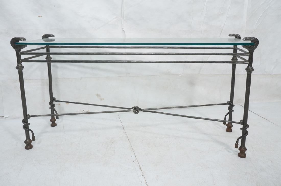 Decorator Wrought Iron Hammered Base Console Tabl - 2