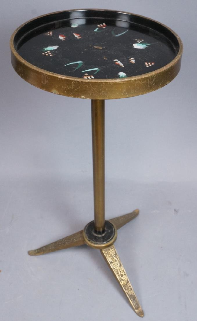Brass Frame Small Side Modern Table. Tripod Pedes