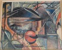 Vintage Modern Abstract Oil Painting Architectura