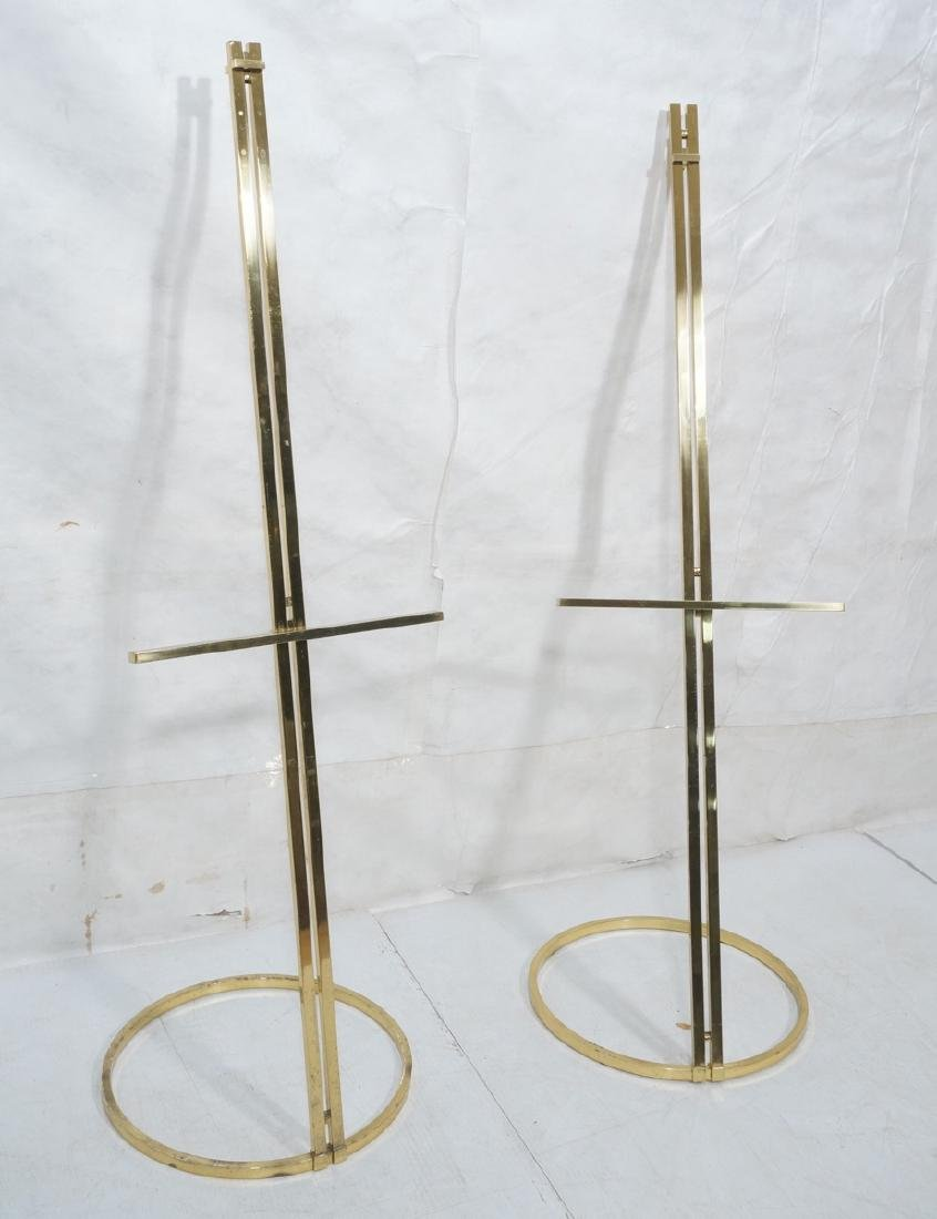 Pr Italian Brass Modern Display Easels. Round rin