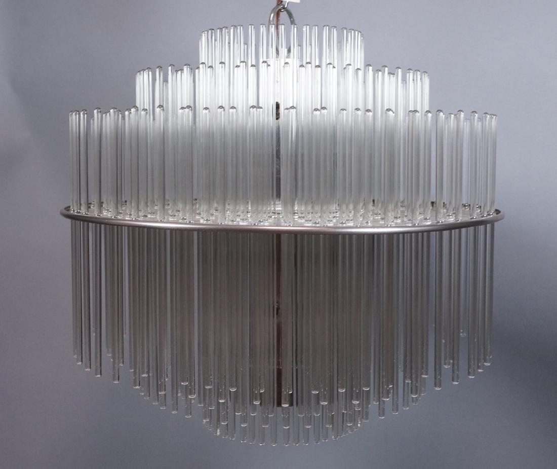 SCIOLARI Glass Rod Modern Chandelier. Three level