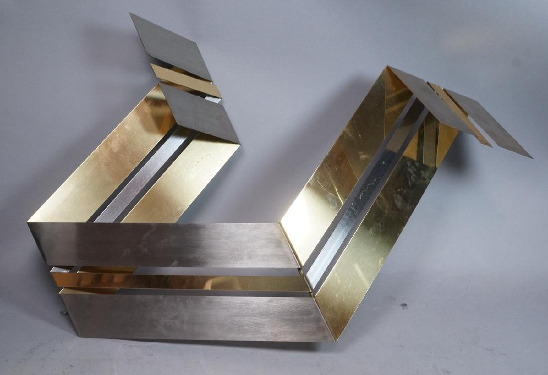 C JERE Brass & Stainless Wall Sculpture. Folded r
