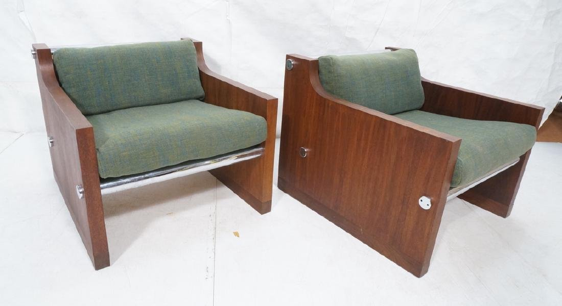 Pr Rosewood Thick Chrome Tube Lounge Chairs. Thic