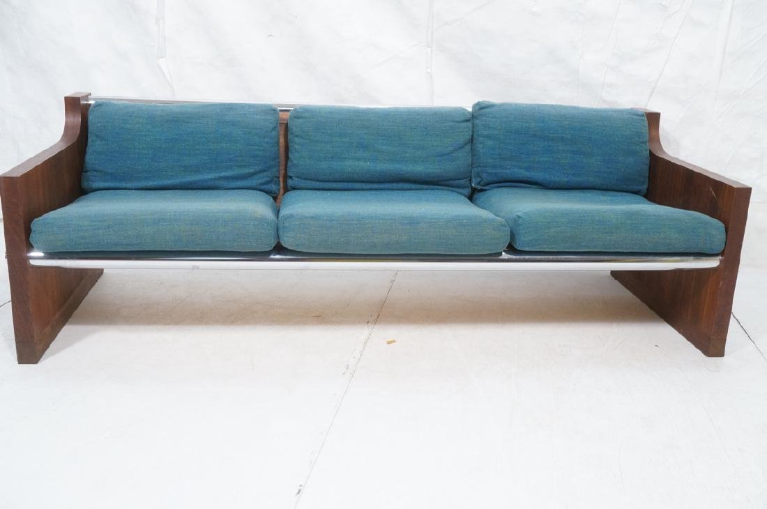 Rosewood Thick Chrome Tube Sofa Couch. Thick wall - 2