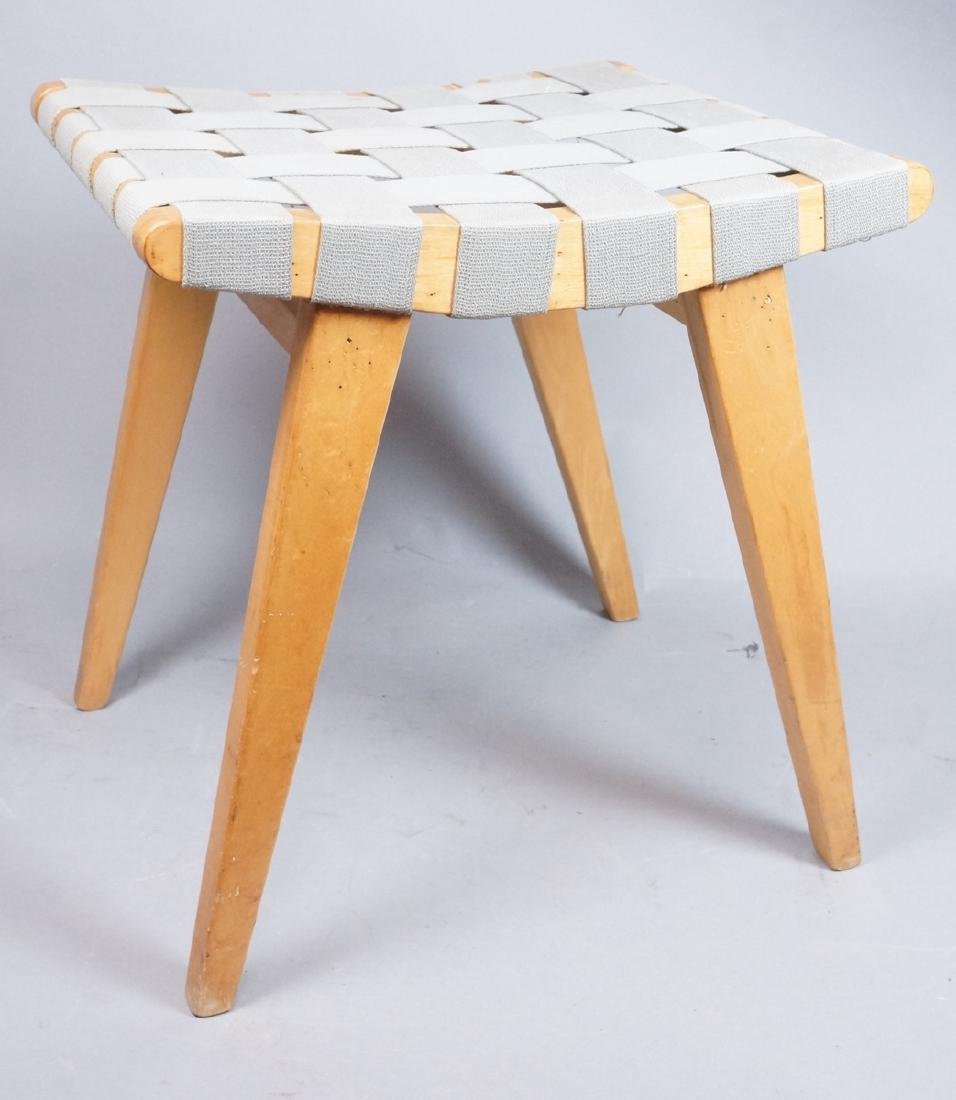 KNOLL ASSOC Woven Canvas Maple Stool Bench. Marke