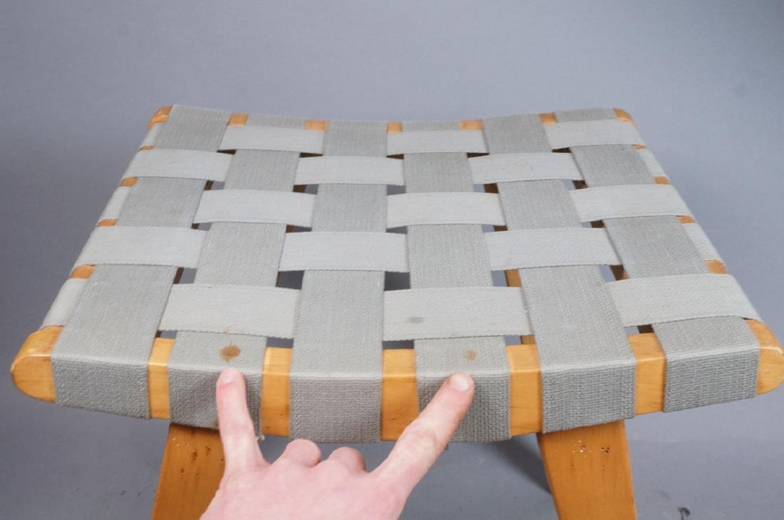KNOLL ASSOC Woven Canvas Maple Stool Bench. Marke - 4