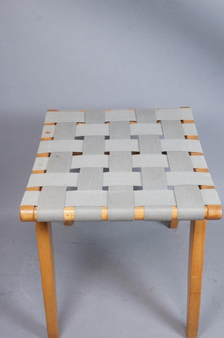 KNOLL ASSOC Woven Canvas Maple Stool Bench. Marke - 6