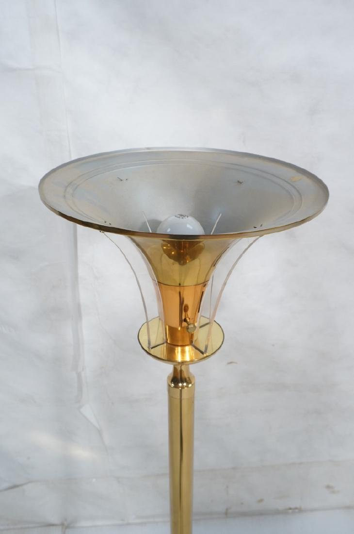 Tall Brass tone Art Deco Torchiere Floor Lamp. Fo - 2