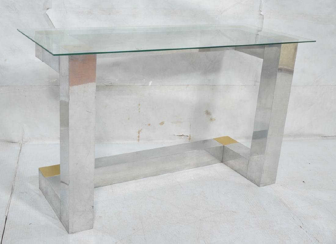 Paul Evans Style Aluminum Console Table. Thin gla