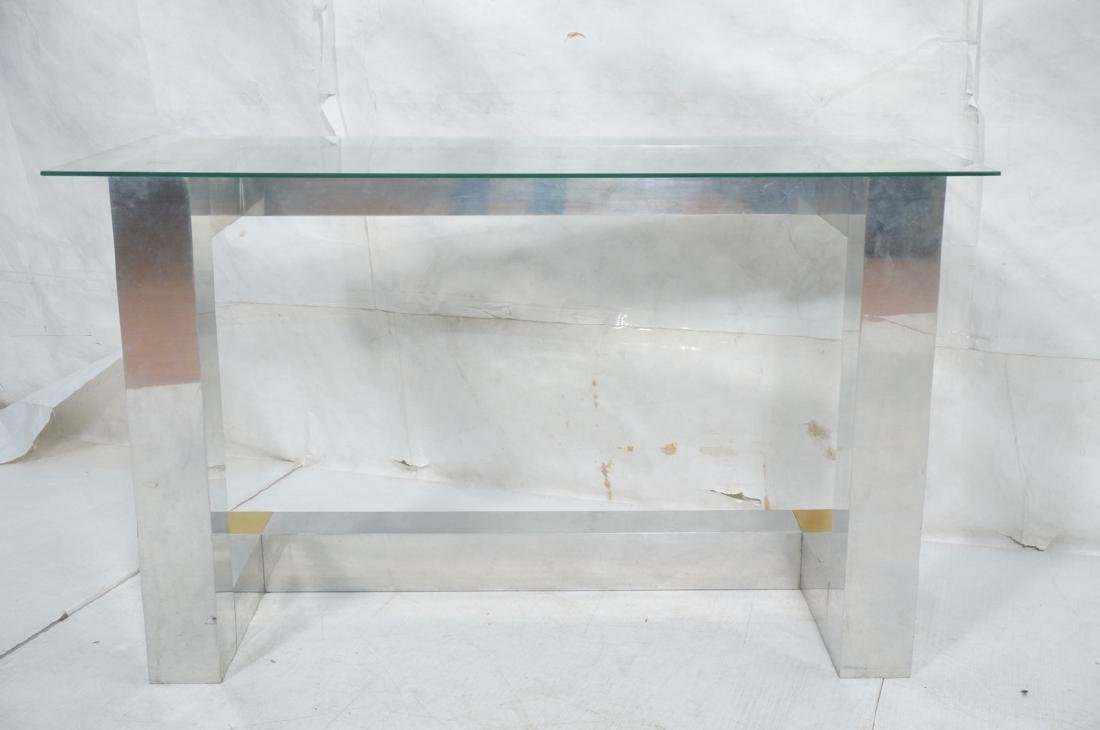 Paul Evans Style Aluminum Console Table. Thin gla - 2