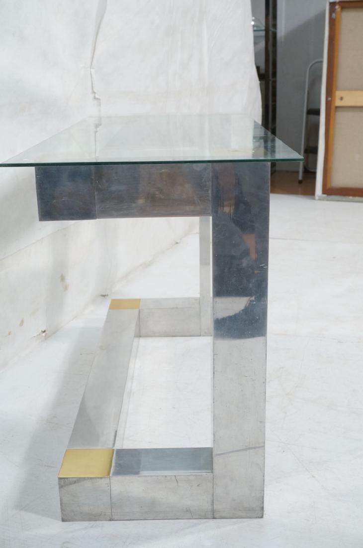 Paul Evans Style Aluminum Console Table. Thin gla - 3