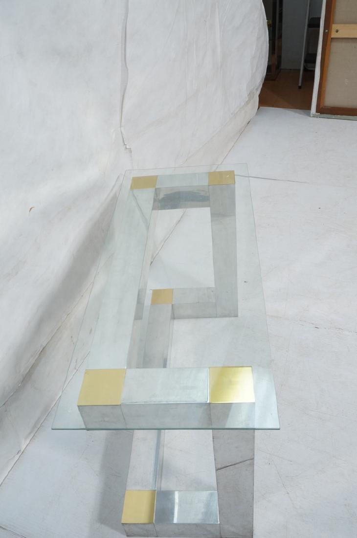 Paul Evans Style Aluminum Console Table. Thin gla - 4