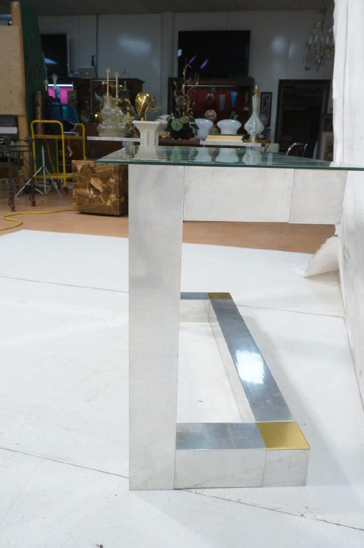 Paul Evans Style Aluminum Console Table. Thin gla - 5