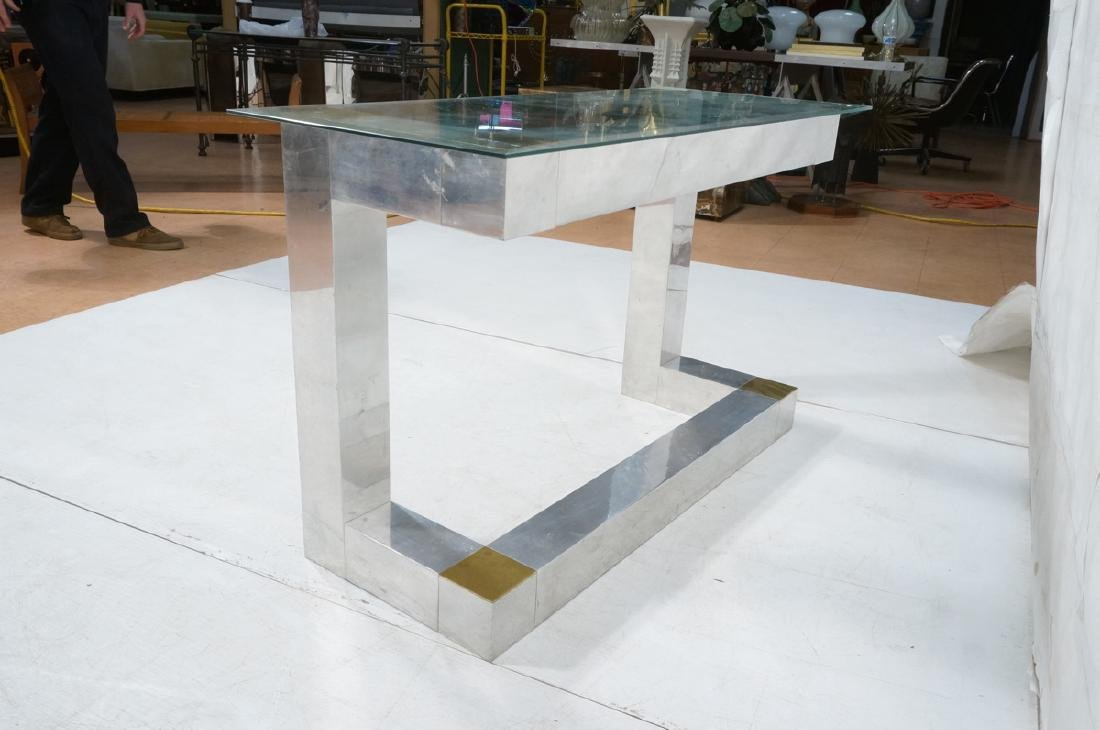 Paul Evans Style Aluminum Console Table. Thin gla - 6