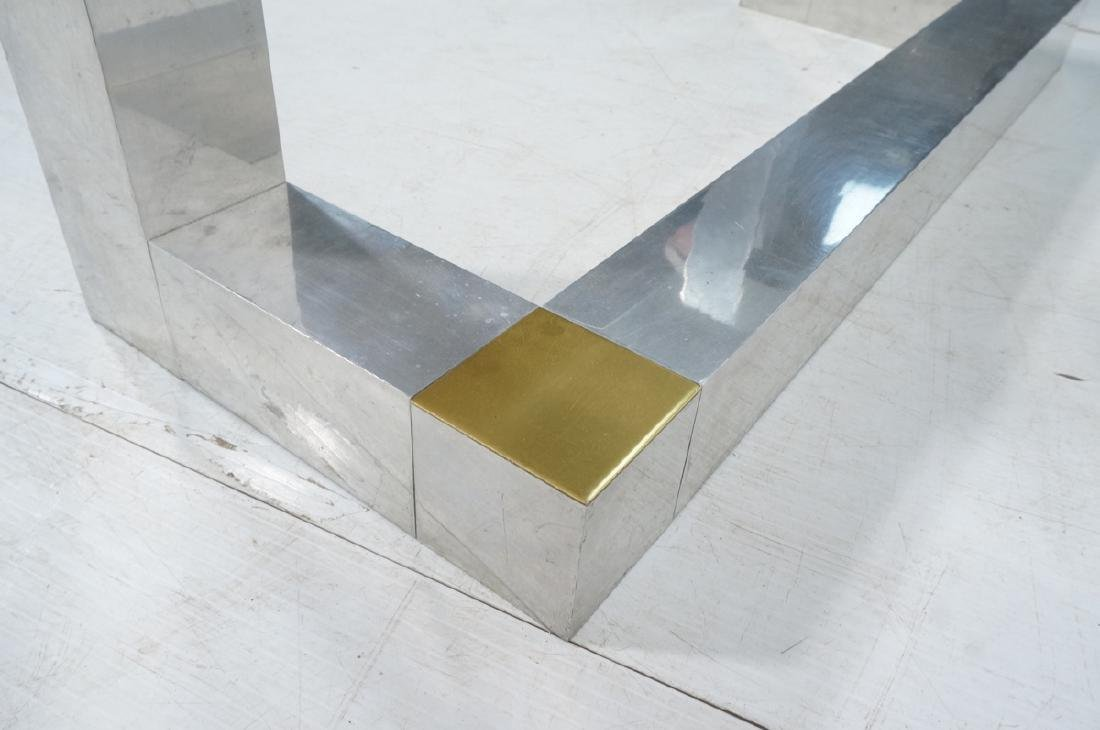 Paul Evans Style Aluminum Console Table. Thin gla - 7