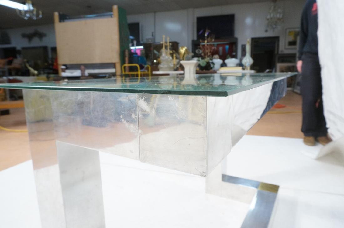 Paul Evans Style Aluminum Console Table. Thin gla - 8