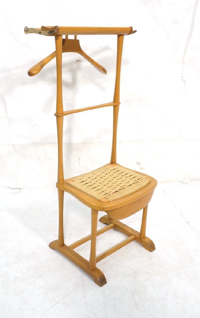Modern Italian SPQR Wood Valet. Woven seat above