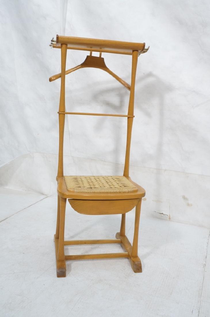 Modern Italian SPQR Wood Valet. Woven seat above - 3