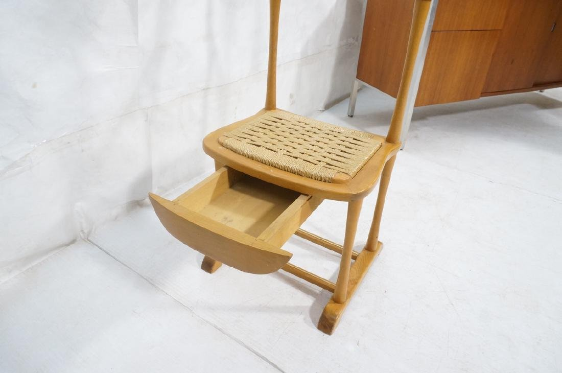 Modern Italian SPQR Wood Valet. Woven seat above - 8