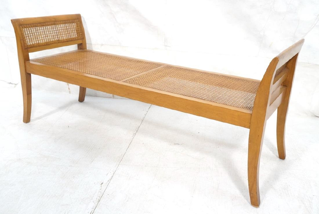 Modernist Caned Bench Seating.  Woven caned seat