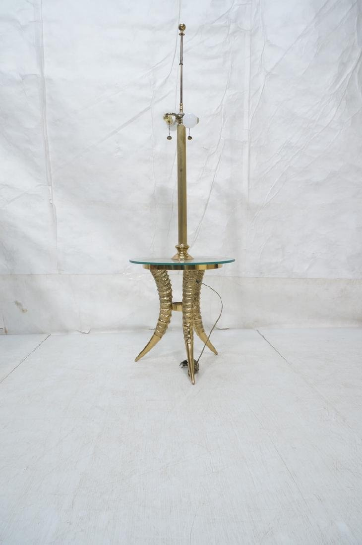 Decorator Brass Horn form Tripod Base Lamp Table. - 3