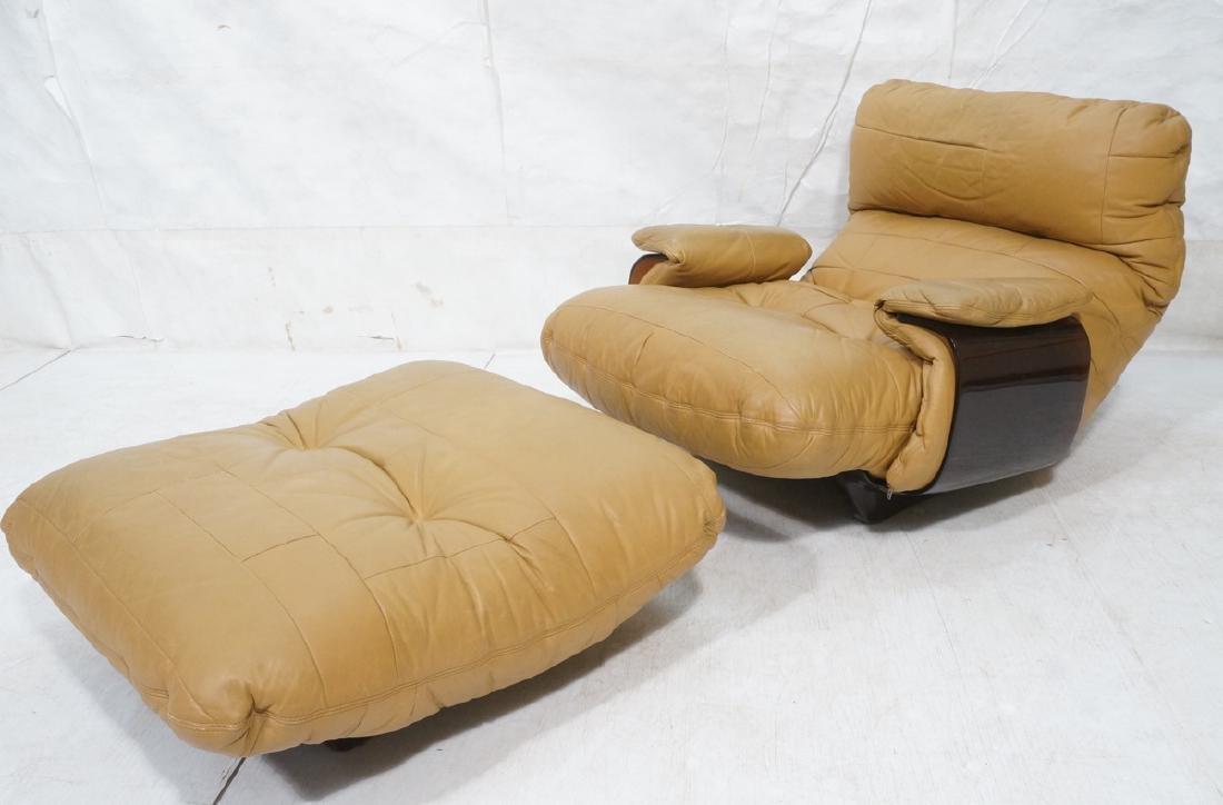 LIGNE ROSET Tan Leather Modern Lounge Chair Ottom