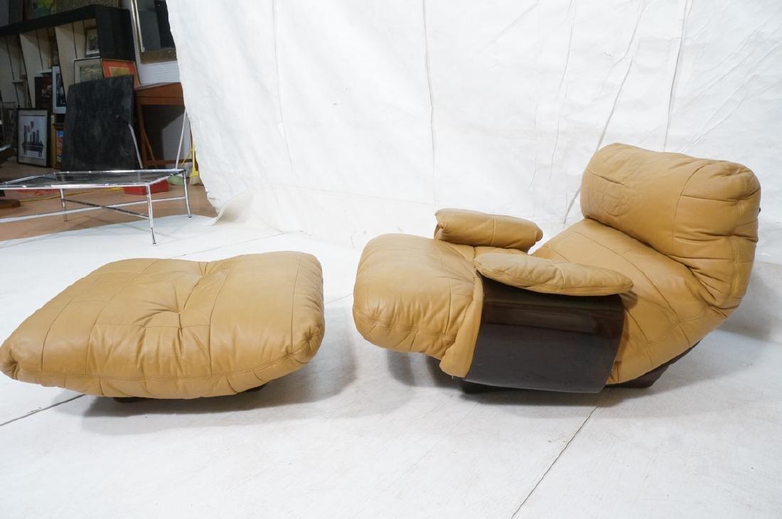 LIGNE ROSET Tan Leather Modern Lounge Chair Ottom - 2