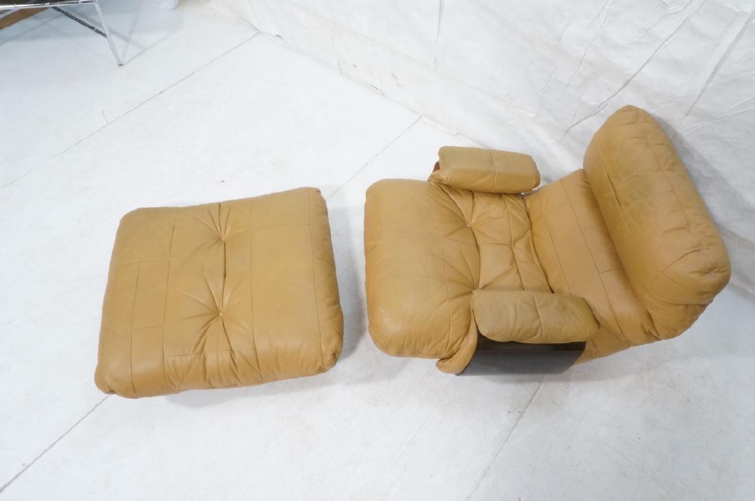 LIGNE ROSET Tan Leather Modern Lounge Chair Ottom - 3