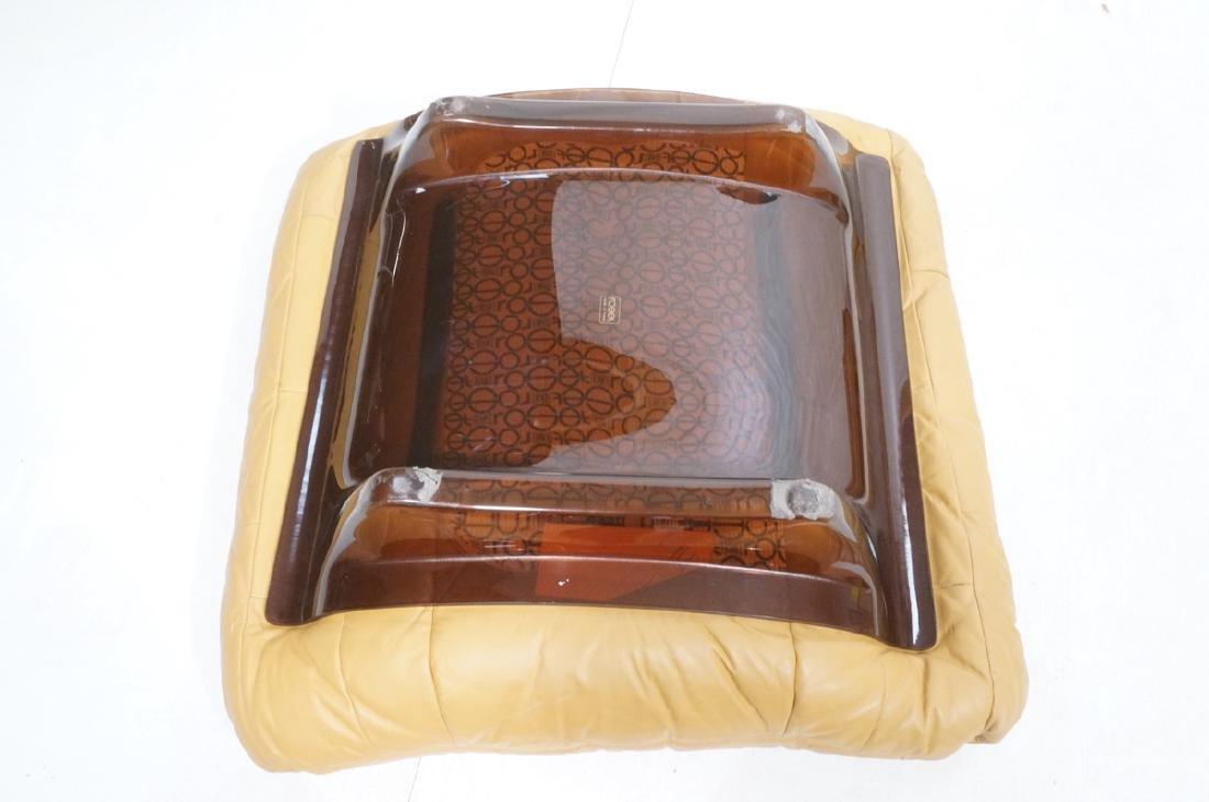 LIGNE ROSET Tan Leather Modern Lounge Chair Ottom - 9