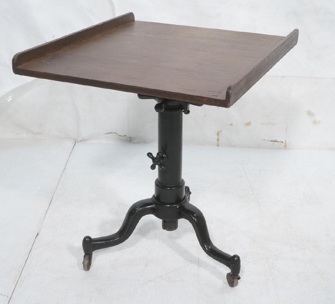 Walnut Top Industrial Metal Base Table. Adjustabl