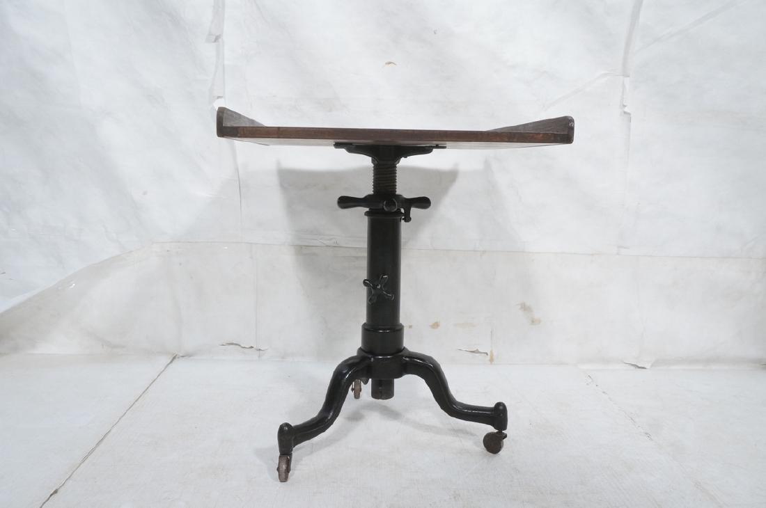 Walnut Top Industrial Metal Base Table. Adjustabl - 2