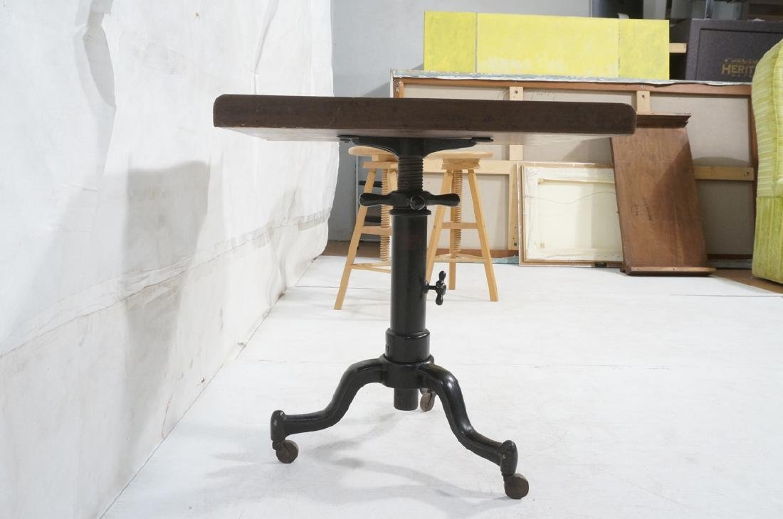 Walnut Top Industrial Metal Base Table. Adjustabl - 3