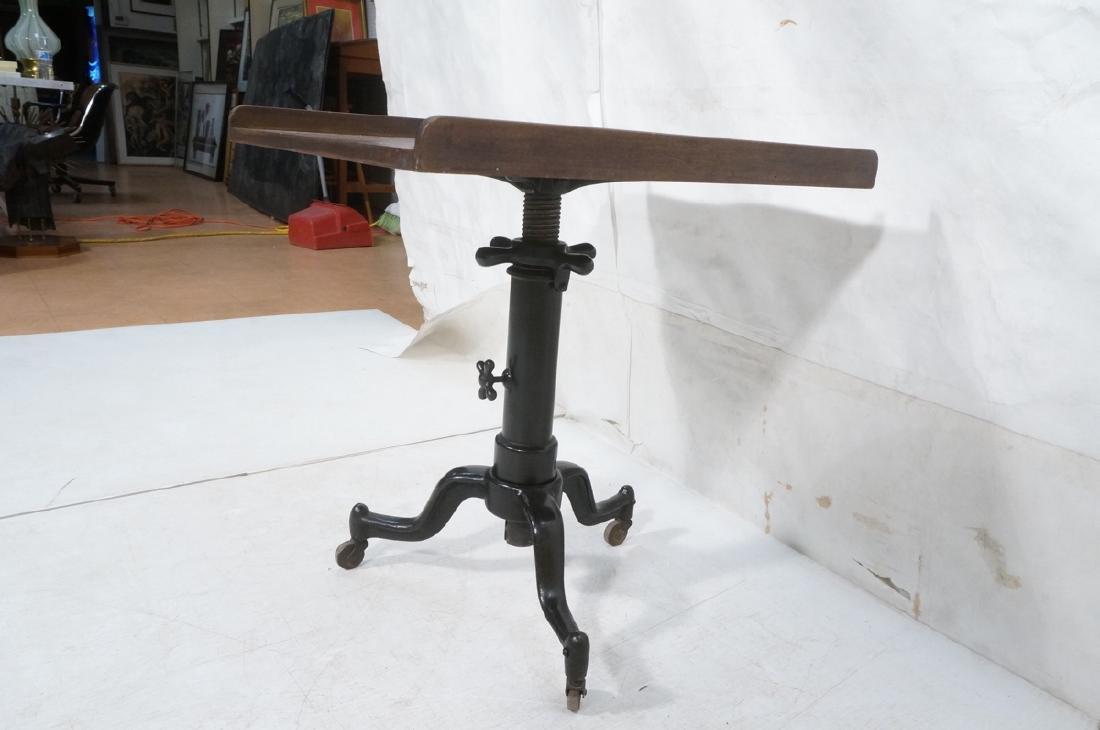 Walnut Top Industrial Metal Base Table. Adjustabl - 5