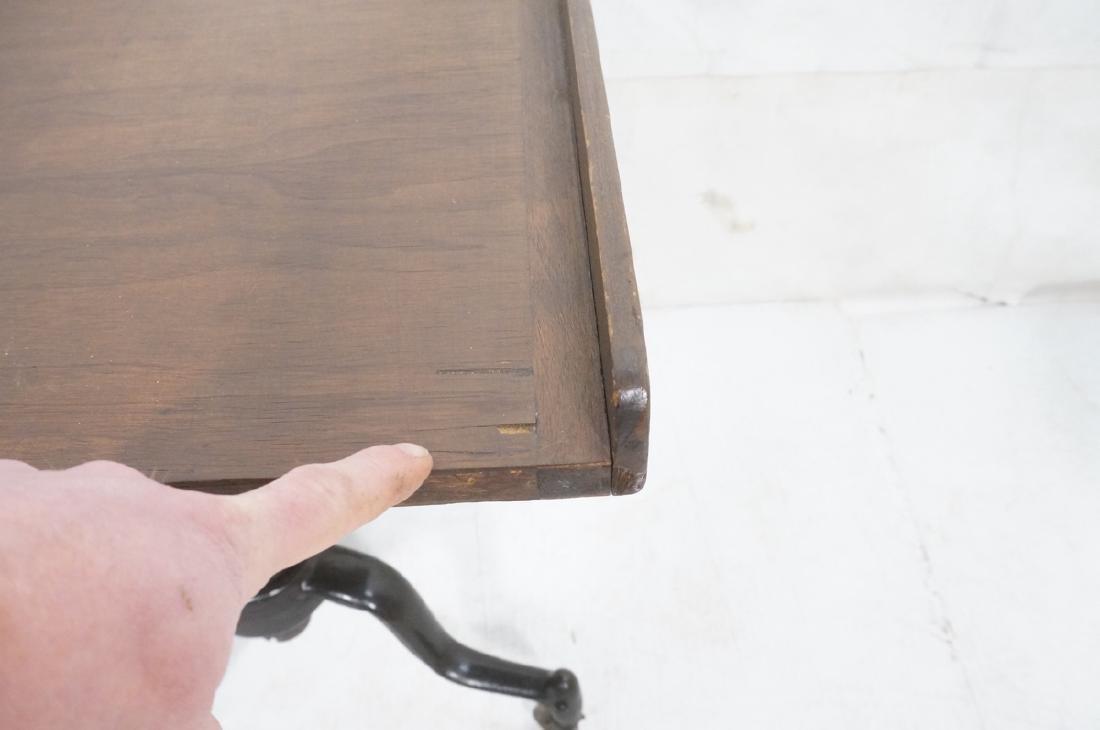 Walnut Top Industrial Metal Base Table. Adjustabl - 9
