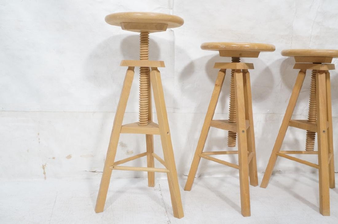 4 Round Wood Swivel Stools Adjustable Tripod Base - 3