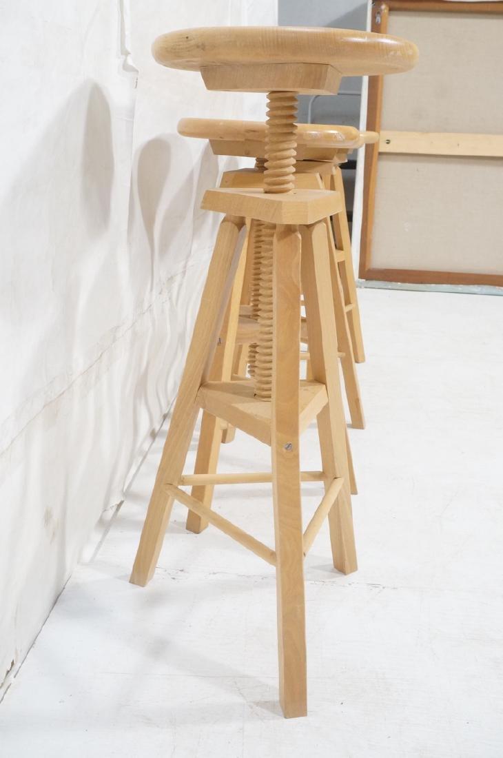 4 Round Wood Swivel Stools Adjustable Tripod Base - 4