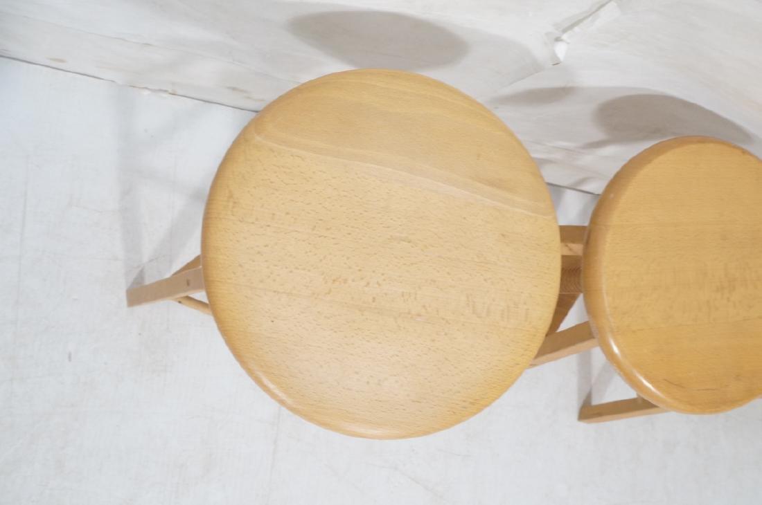 4 Round Wood Swivel Stools Adjustable Tripod Base - 5